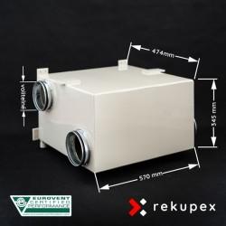 RECUBOX RX 04/400 (rekuperační výměník v opláštění, rekuperační box, rekuperace vzduchu)