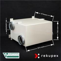 RECUBOX RX 08/400 (rekuperační výměník v opláštění, rekuperační box, rekuperace vzduchu)