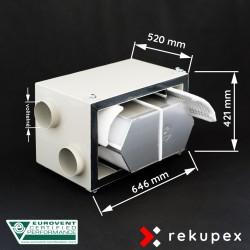 RECUBOX OPEN RX 04/400 (vyjmutelný rekuperační výměník v opláštění, rekuperační box, rekuperace vzduchu, rekuperační jednotka)